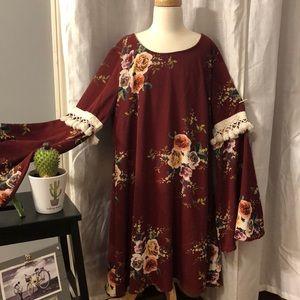 Entro burgundy floral print dress